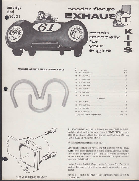 San Diego Steel Products Header Flange Competition Exhaust Kits sell sheet 1961