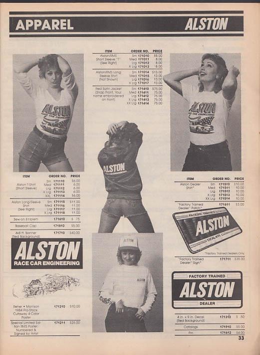 Alston Race Car Engineering Fall Catalog 1985 Camaro Firebird Pro Stockers ++