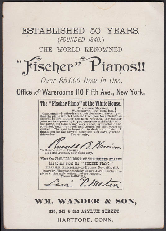 World's Renowned Fischer Piano trade card 1889 Wm Wander & Son Hartford CT