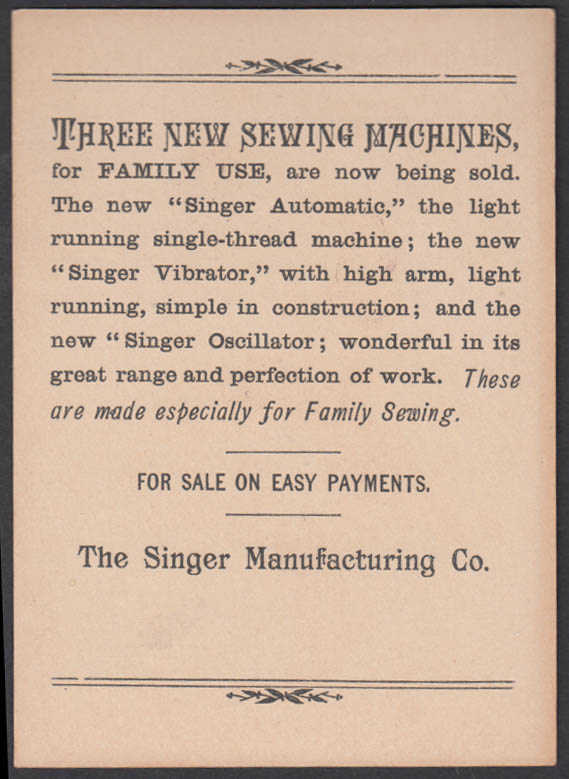 Writing the order for a light running Singer Sewing Machine trade card 1880s