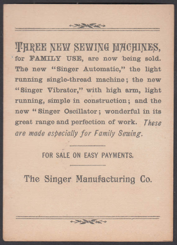 I've dot money enuf to det Mamma a new Singer Sewing Machine trade card 1880s