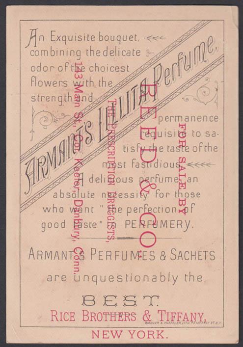 Armant's Lillita Perfume trade card 1880s Rice Brothers & Tiffany NYC