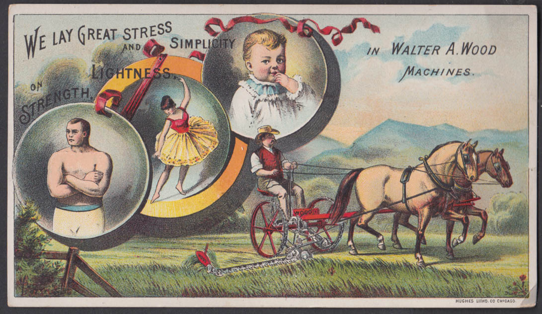 Walter A Wood horse-drawn Lawn Mower trade card 1880s Hoosick Falls NY