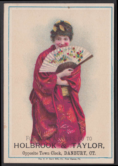 Image for Holbrook & Taylor Boots & Shoes trade card 1880s Geisha with fan Danbury CT