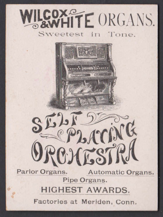 Wilcox & White Player Organs trade card 1880s sailboat near shore Meriden CT