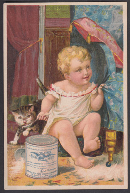 Image for Gail Borden Eagle Brand Condensed Milk trade card baby & cat 1887