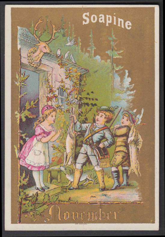Kendall Soapine Soap Christmas trade card 1880s Providence RI Thanksgiving