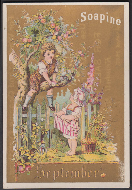 Kendall Soapine Soap Christmas trade card 1880s Providence RI apple picking