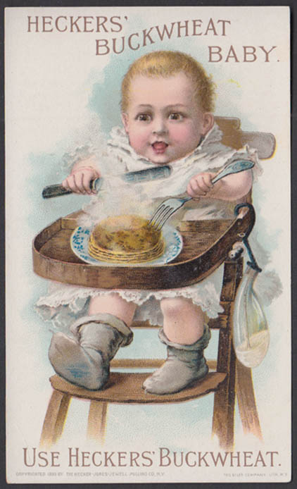 Heckers Buckwheat pancake flour trade card 1883 Buckwheat Baby