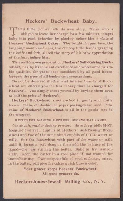 Heckers Buckwheat pancake flour trade card 1883 Buckwheat Baby