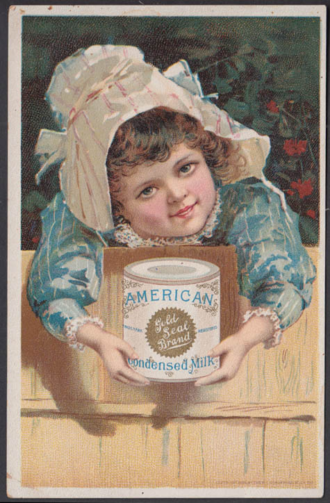 American Gold Seal Condensed Milk trade card little girl in bonnet 1880s