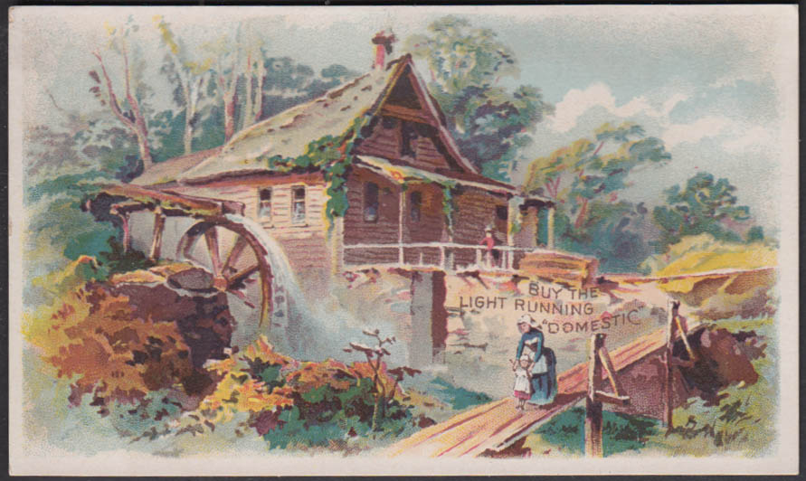 Buy the Light Running Domestic Sewing Machine trade card 1880s log cabin