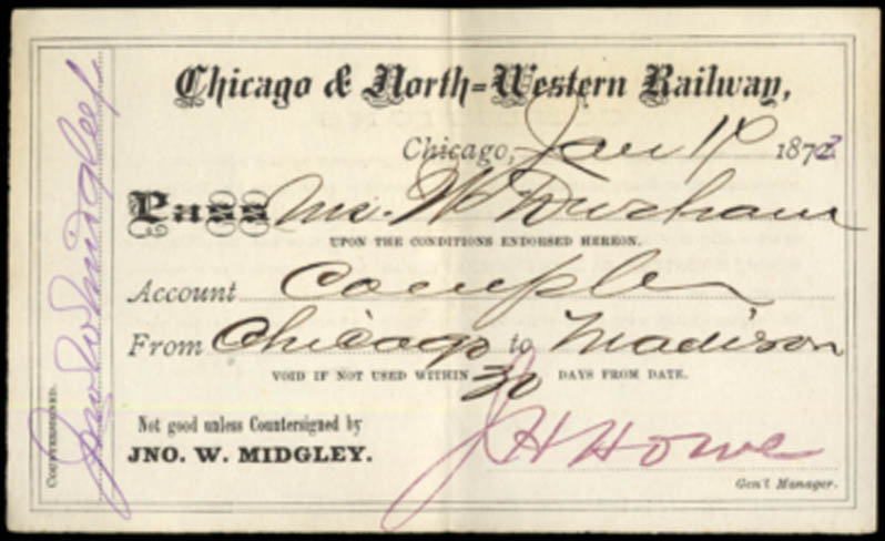 Image for Chicago & North-Western Railway Chicago-Madison Complimentary Pass 1873
