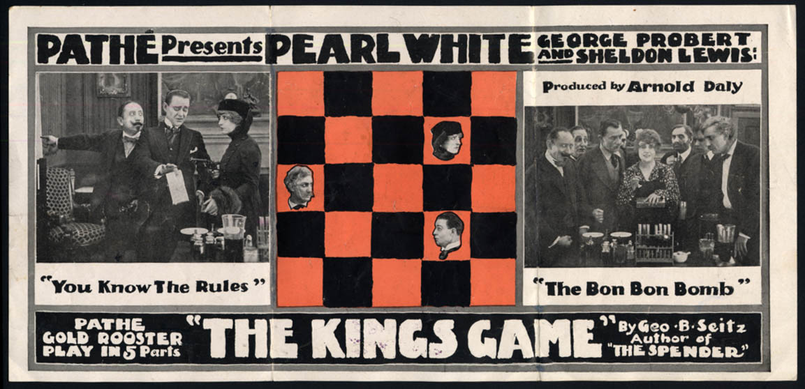 Image for Pearl White in The Kings Game movie promotional folder 1916
