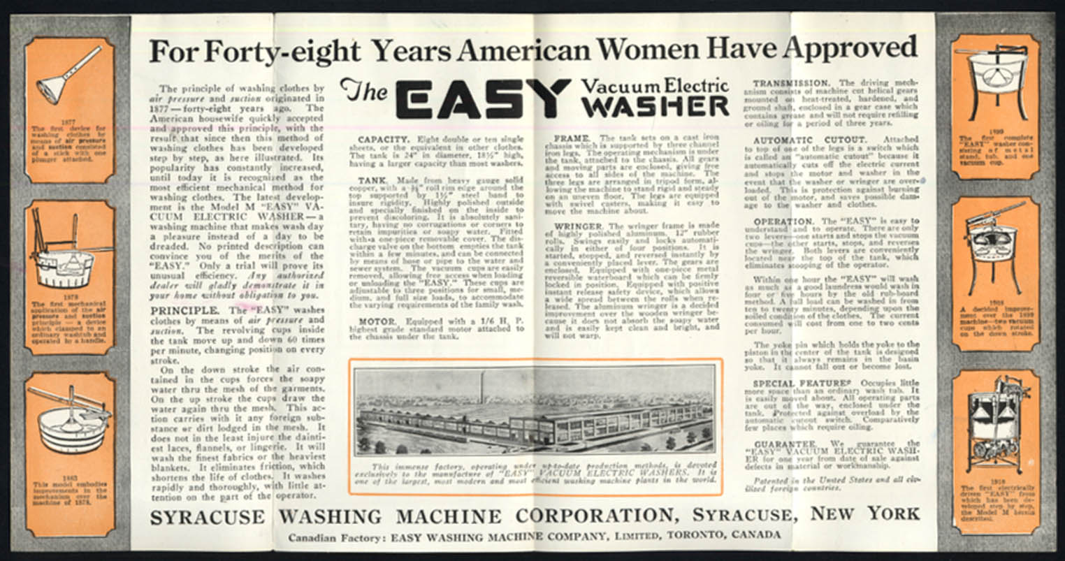 Syracuse Easy Vacuum Electric Washing Machine sales folder 1910