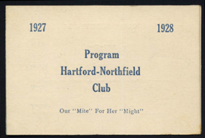 Image for Hartford-Northfield Club program 1927-1928 CT