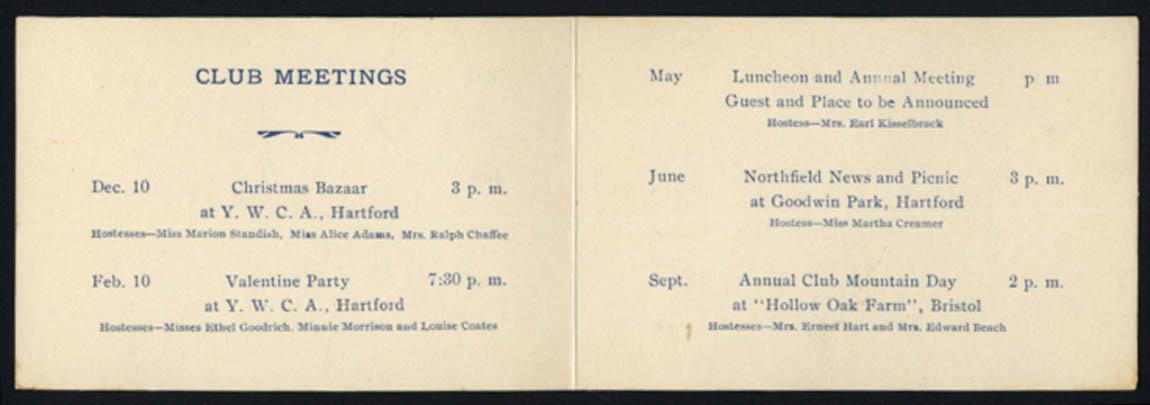 Hartford-Northfield Club program 1927-1928 CT