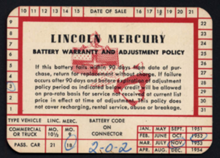 Image for Lincoln-Mercury Car Battery Warranty & Adjustment Policy card 11 1952
