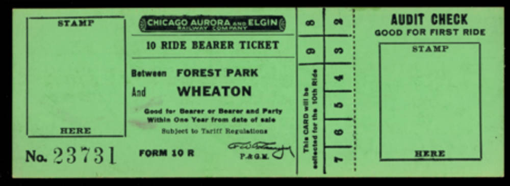 Image for Chicago Aurora & Elgin Railway 10-ride Bearer Ticket Forest Park-Wheaton