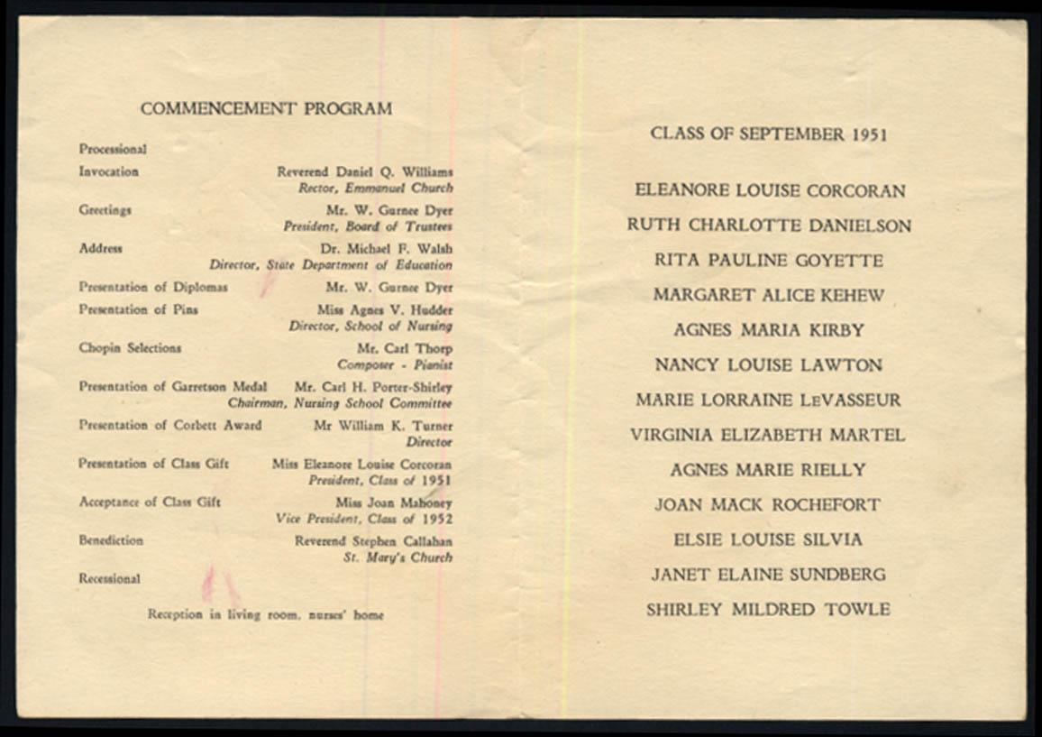 Image for Newport Hospital School of Nursing Commencement Program 6/5 1951 RI