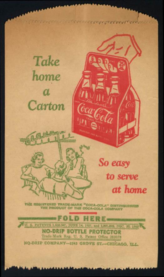 Image for Coca-Cola No-Drip Bottle Protector Take Home a Carton 1932 unused