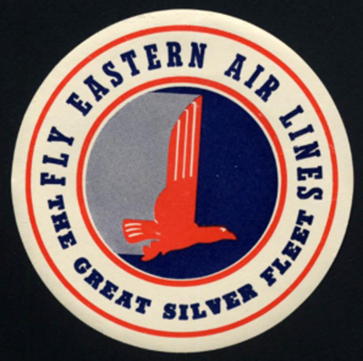 Image for Eastern Air Lines Great Silver Fleet unused gummed baggage sticker 1950s