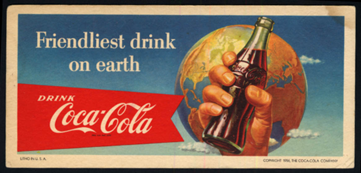 Image for Friendliest drink on earth Coca-Cola blotter 1956