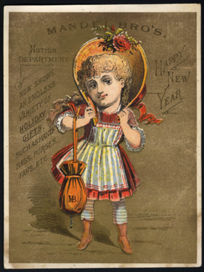 Image for Mandel Bros Notion Department Happy New Year trade card 1880s girl bonnet