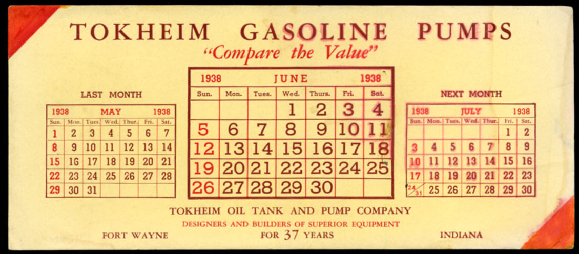 Image for Tokheim Gasoline Pumps Fort Wayne IN advertising blotter calendar 1938
