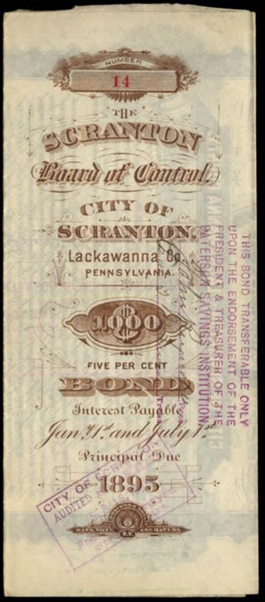 Image for City of Scranton PA Board of Control $1000 Bond 1885
