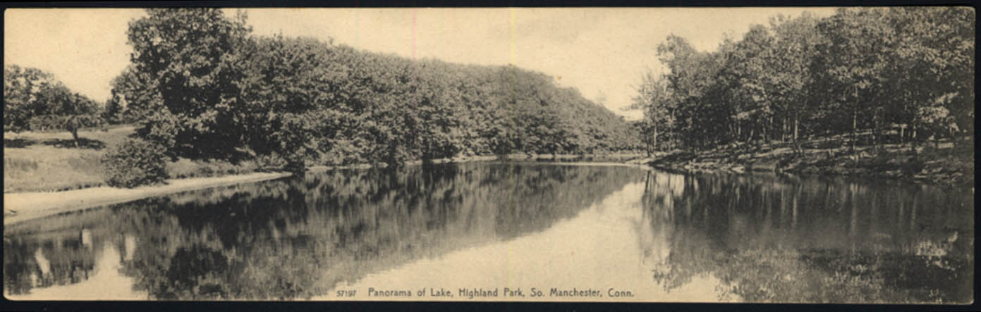 Image for Panorama of Lake at Highland Park Manchester CT wide postcard ca 1905