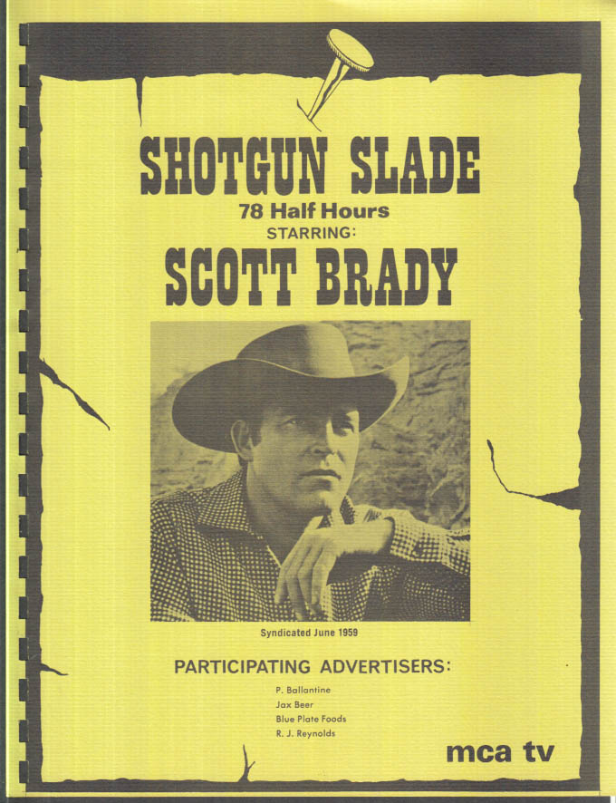 Image for MCA TV Syndicated Show promo sheet 1960s Scott Brady as SHOTGUN SLADE