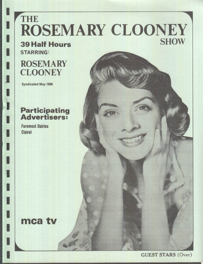 Image for MCA TV Syndicated Show promo sheet 1960s The ROSEMARY CLOONEY Show
