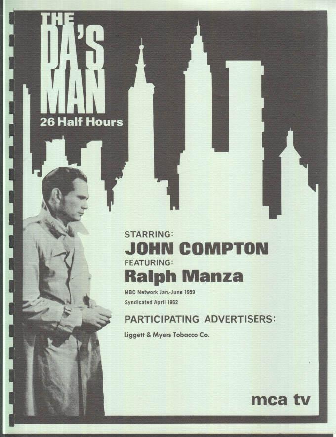 Image for MCA TV Syndicated Show promo sheet 1960s John Compton as THE DA's MAN