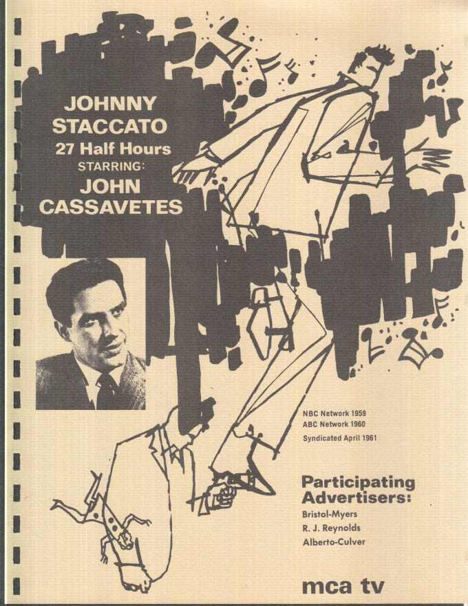 Image for MCA TV Syndicated Show promo sheet 1960s John Cassavetes as JOHNNY STACCATO