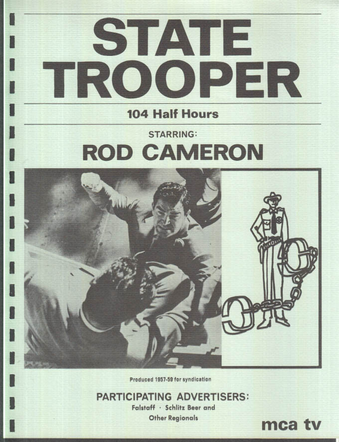 Image for MCA TV Syndicated Show promo sheet 1960s Rod Cameron as STATE TROOPER