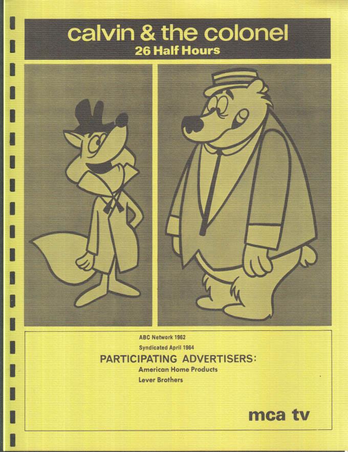Image for MCA TV Syndicated Show promo sheet 1960s cartoon sitcom CALVIN & THE COLONEL