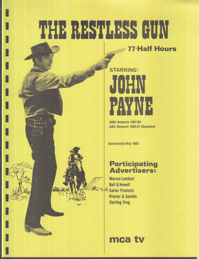 Image for MCA TV Syndicated Show promo sheet 1960sJohn Payne as THE RESTLESS GUN