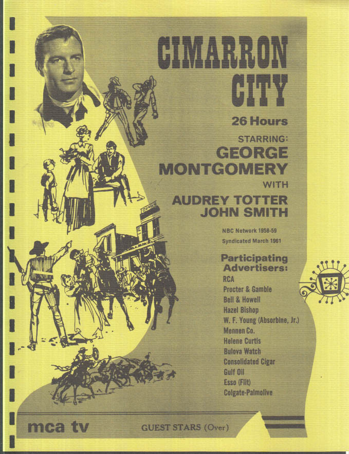 Image for MCA TV Syndicated Show promo sheet 1960s George Montgomery in CIMARRON CITY