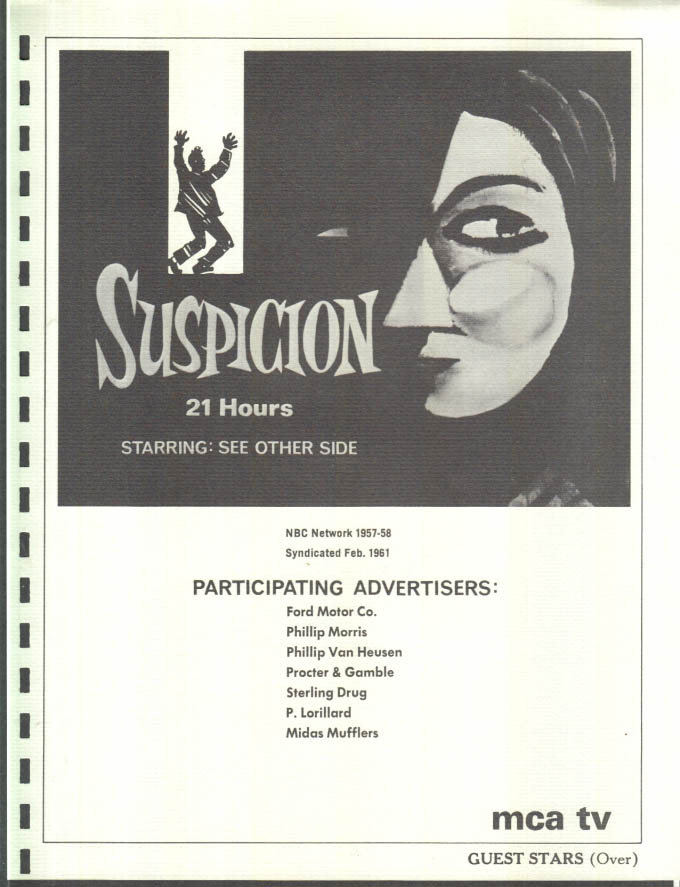 Image for MCA TV Syndicated Show promo sheet 1960s SUSPICION w/ Bette Davis Steiger Loy ++