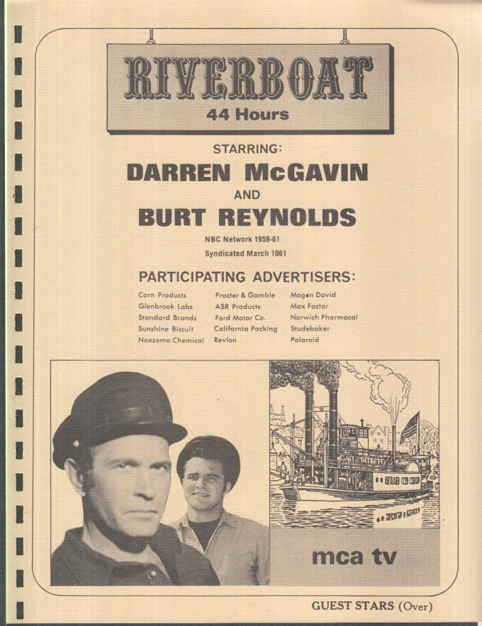 Image for MCA TV Syndicated Show promo sheet 1960s Darren McGavin Burt Reynolds RIVERBOAT