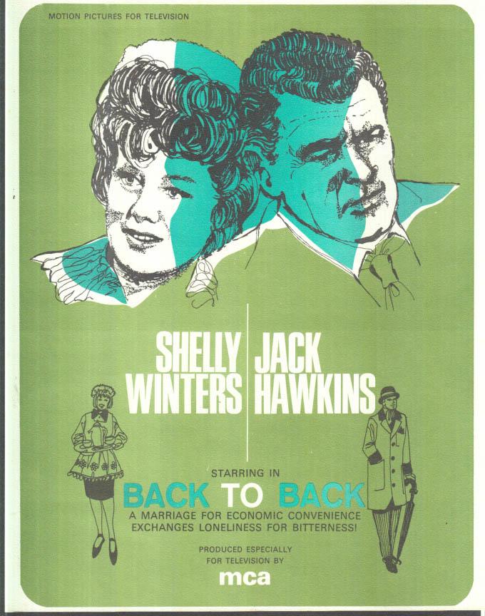 Image for MCA TV MOVIE promo sheet 1960s Shellet Winters Jack Hawkins BACK TO BACK