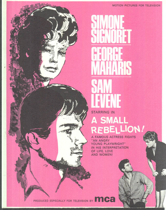 Image for MCA TV MOVIE promo sheet 1960s Signoret & Maharis in A SMALL REBELLION