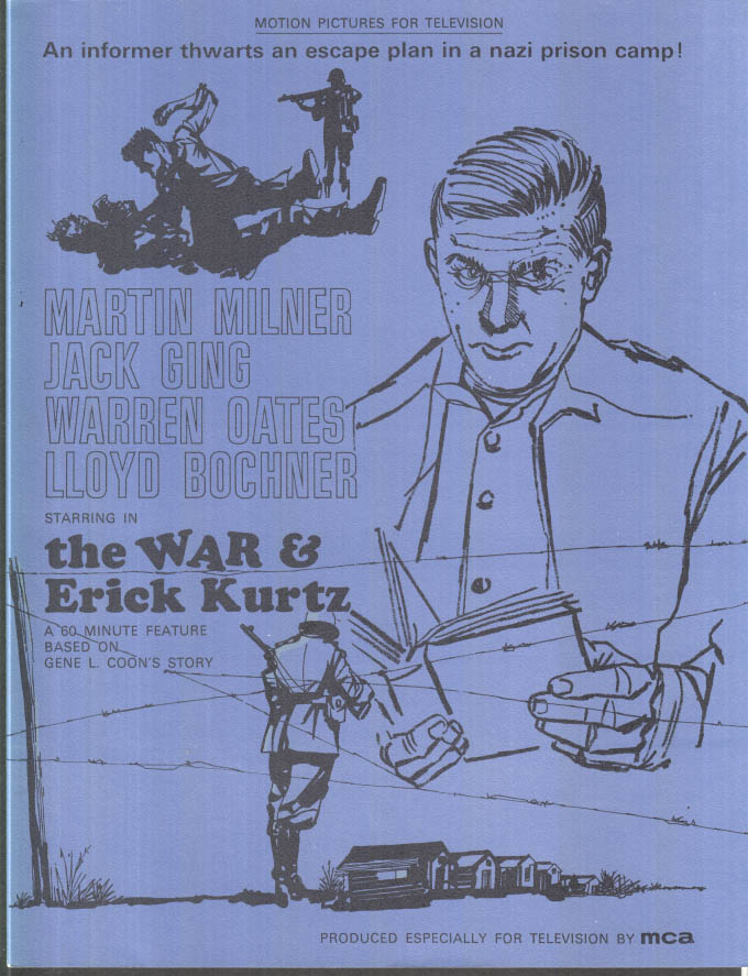 Image for MCA TV MOVIE promo sheet 1960s Martyin Milner Warren Oates THE WAR & ERICK KURTZ