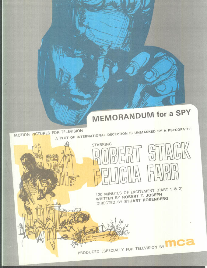 Image for MCA TV MOVIE promo sheet 1960s Robert Stack in MEMORANDUM FOR A SPY