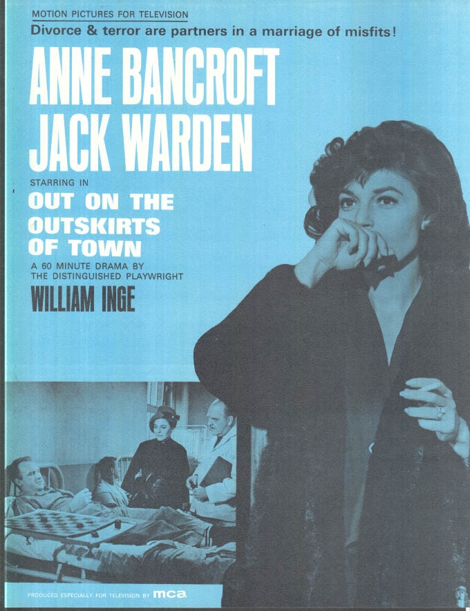 Image for MCA TV MOVIE promo sheet 1960s Anne Bancroft OUT ON THE OUTSKIRTS OF TOWN Inge