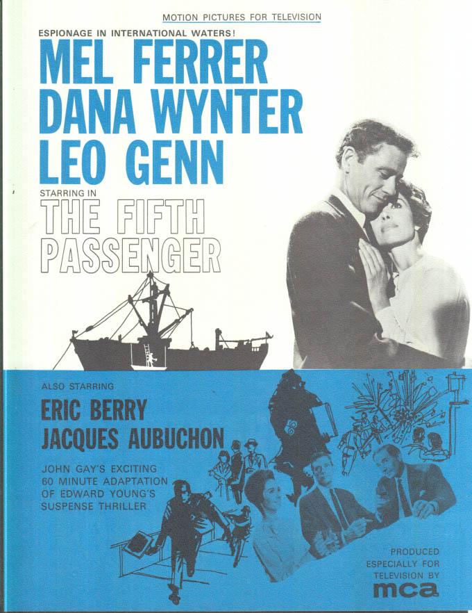 Image for MCA TV MOVIE promo sheet 1960s Mel Ferrer Dana Wynter in THE FIFTH PASSENGER
