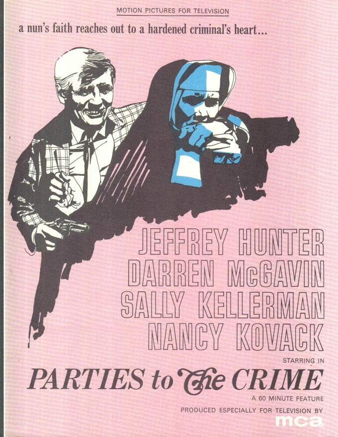 Image for MCA TV MOVIE promo sheet 1960s McGavin Kellerman Hunter PARTIES TO THE CRIME