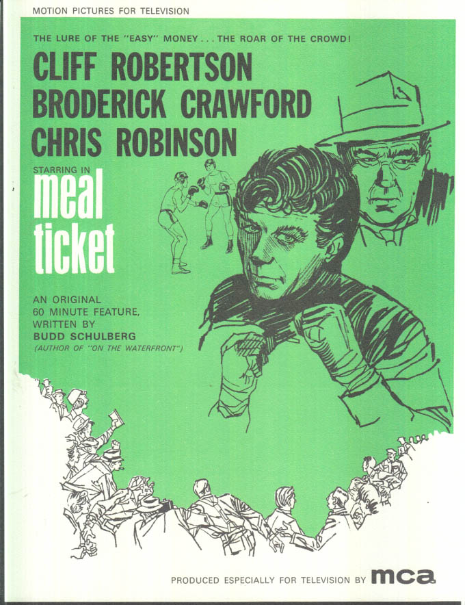 Image for MCA TV MOVIE promo sheet 1960s Cliff Robertson MEAL TICKET by Budd Schulberg