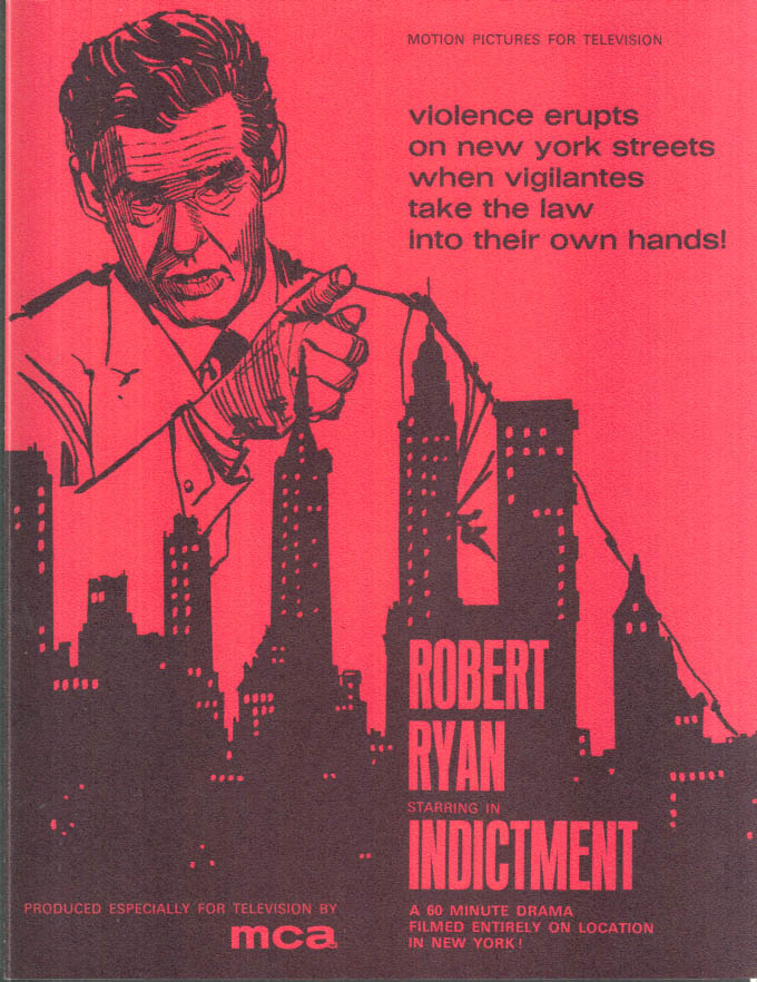 Image for MCA TV MOVIE promo sheet 1960s Robert Ryan in INDICTMENT